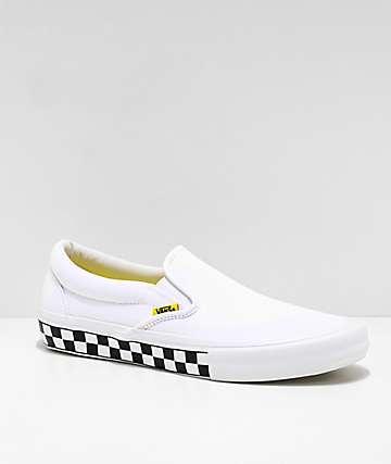 Vans Slip-On Pro zapatos de skate blancos y amarillos de cuadros