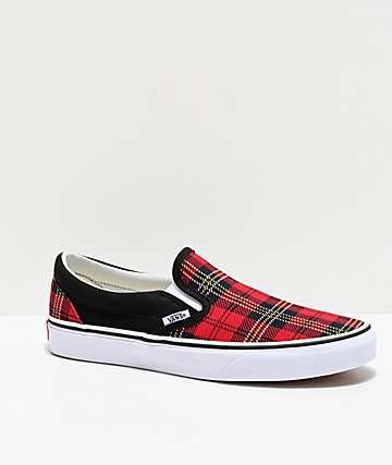 Vans Slip-On Red, Black & White Tartan Skate Shoes