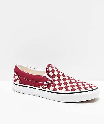 Vans Slip-On Rumba zapatos de skate de cuadros rojos y blancos