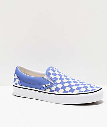 Vans Slip-On Ultramarine & White Checkerboard Skate Shoes