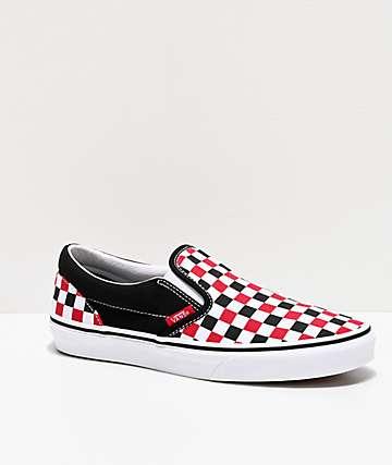 Vans Slip-On zapatos de skate rojos, negros y blancos de cuadros