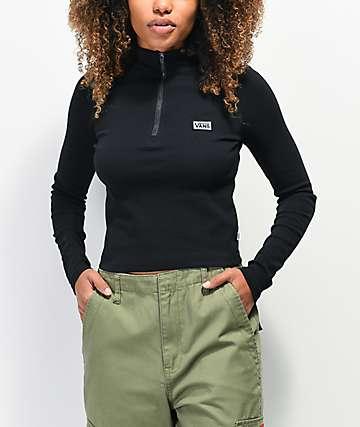 Vans Studio Black Crop Long Sleeve Polo Top