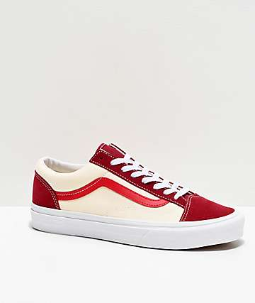 Red Vans / Alameda ii long sleeve woven top.