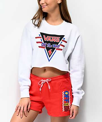 Vans Suma-Time White Crop Crew Neck Sweatshirt