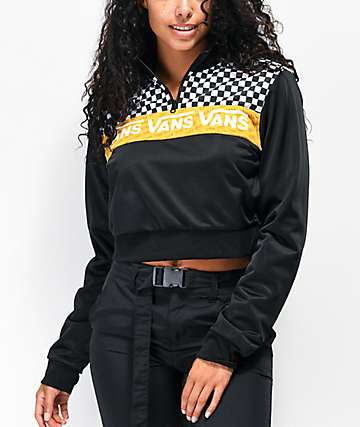 Vans Track Black, White & Yellow Half-Zip Crop Windbreaker Jacket