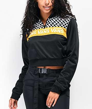 Vans Track chaqueta cortavientos con media cremallera negra, blanca y amarilla