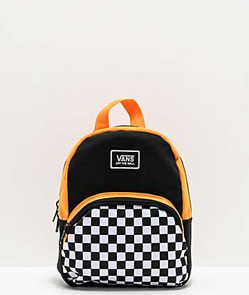 Vans Webbed Mini Checkerboard Black & Yellow Backpack