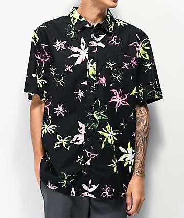 Vans West Street Floral Black Short Sleeve Button Up Shirt