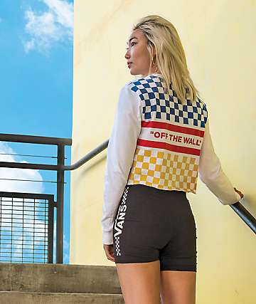 Vans White & Primary Checkered Long Sleeve Crop T-Shirt