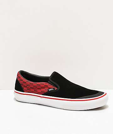 Vans x Baker Slip-On Pro Rowan Speed Black & Red Skate Shoes