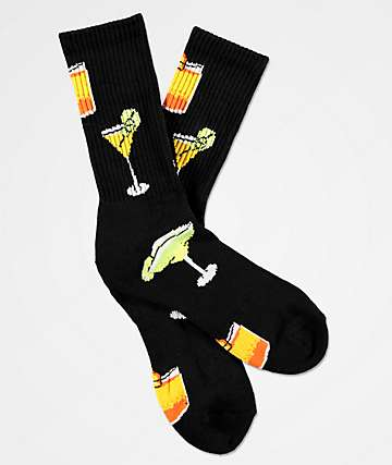 Volcom Bit Drinks Black Crew Socks