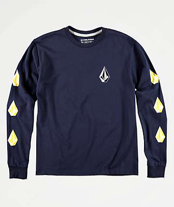 Volcom Boys Deadly Stone Navy Long Sleeve T-Shirt