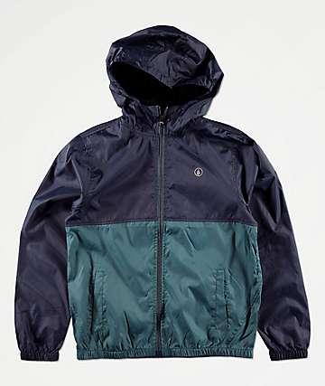 Volcom Boys Ermont Blue & Teal Windbreaker Jacket