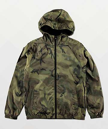 Volcom Boys Ermont Green Camo Windbreaker Jacket