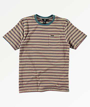 Volcom Boys Moore Stripe Sea Glass T-Shirt
