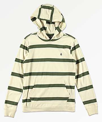 Volcom Boys Shaneo Green & Cream Stripe Hoodie
