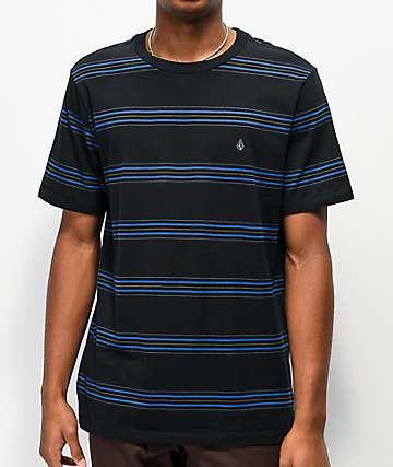 Volcom Chasen Black & Blue Stripe T-Shirt