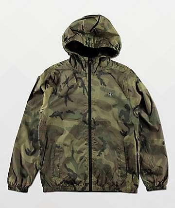 Volcom Ermont chaqueta cortavientos de camuflaje verde para niños