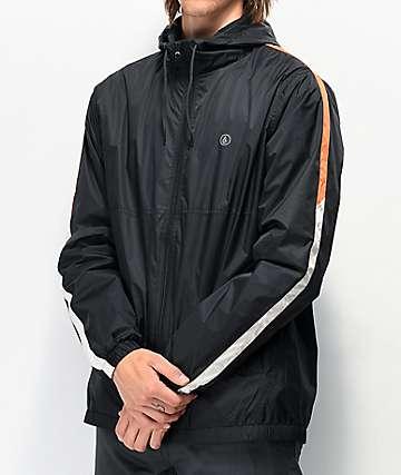 Volcom Ermont chaqueta cortavientos negra y naranja