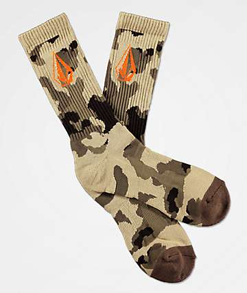 Volcom Full Stone Brown Camo Crew Socks