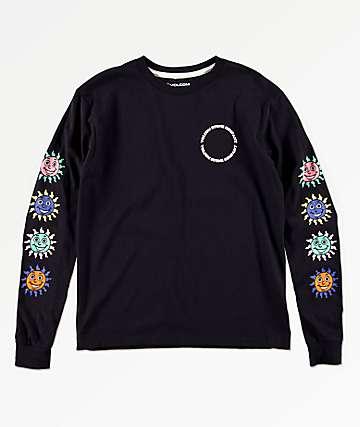 Volcom Kook Gang camiseta negra de manga larga para niños