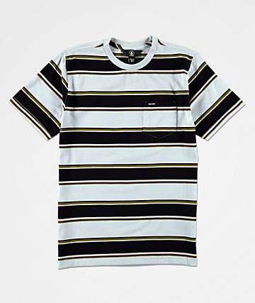 Volcom Laney camiseta con bolsillo azul y negra de rayas para niños