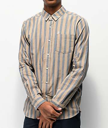 Volcom Moore Mix Natural & Light Blue Long Sleeve Button Up Shirt