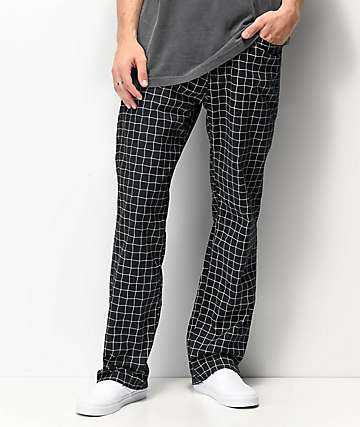 Volcom Moover Elastic Waist Black & White Grid Chino Pants