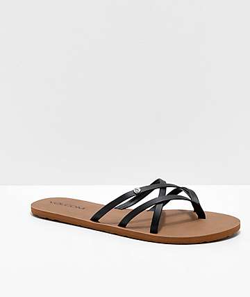 Volcom New School Black Strappy Sandals