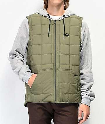 Volcom September 2Fer sudadera con capucha y chaleco verde y gris
