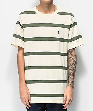 Volcom Shaneo Green & Cream Striped T-Shirt