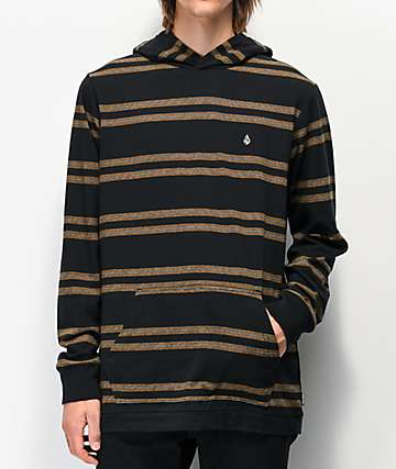 Volcom Tehas Black Hooded Long Sleeve T-Shirt