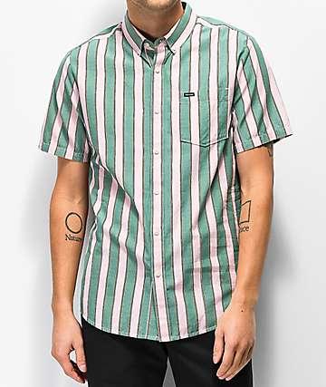 Volcom The Bold Stripe Woven Short Sleeve Button Up Shirt