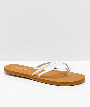 Volcom Thrills White & Khaki Thong Sandals