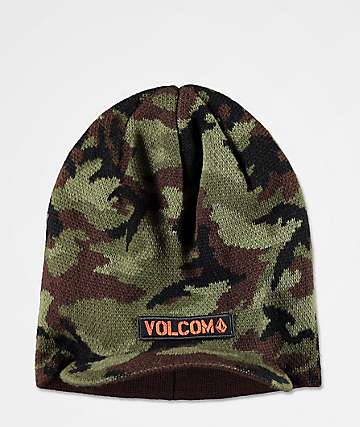 Volcom Under Shade Green Camo Visor Beanie