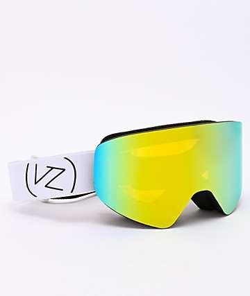 VonZipper Encore Black Satin, White & Gold Chrome Snowboard Goggles