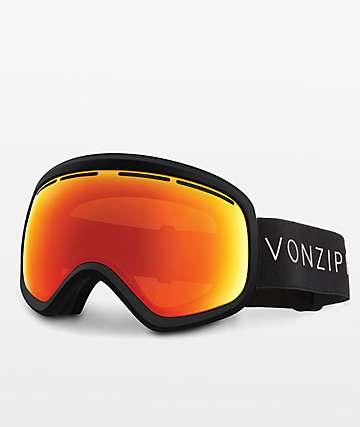 VonZipper Skylab Black Satin Fire Chrome Snowboard Goggles
