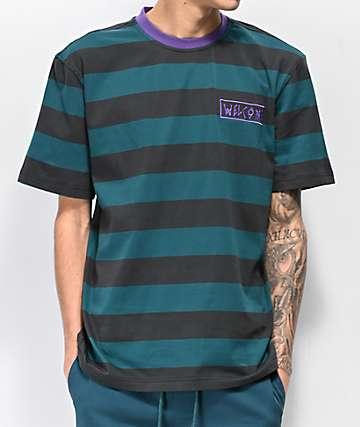 Welcome Big Beautiful Striped Dark Teal & Purple Knit T-Shirt