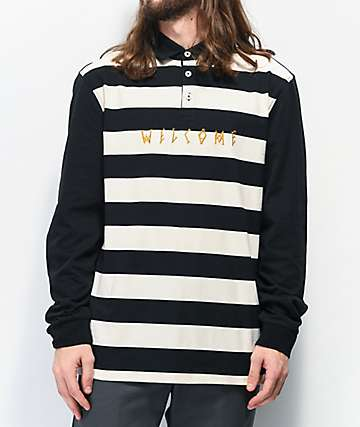 Welcome Drop Out Black Long Sleeve Polo Shirt