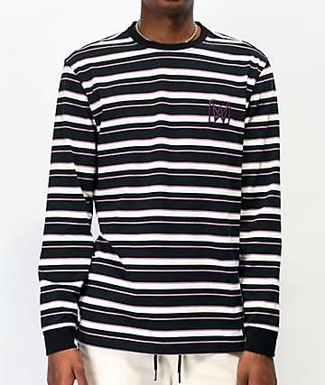 Welcome Icon Black & Purple Stripe Long Sleeve T-Shirt