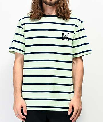 Welcome Icon Mint Green & Black Striped T-Shirt