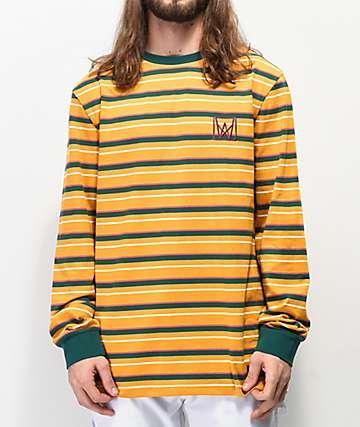 Welcome Icon camiseta de manga larga dorada y verde azulado de rayas