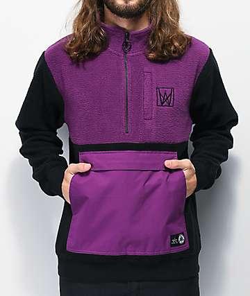 Welcome Icon chaqueta anorak de polar morada y negra