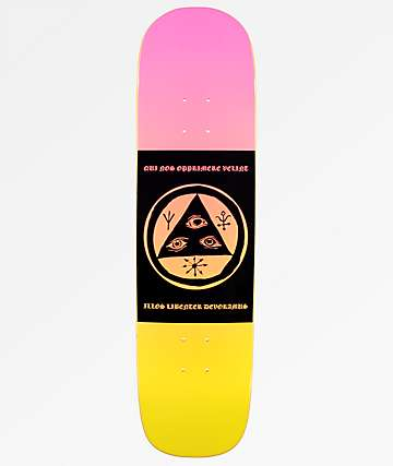 "Welcome Mantra On Yung Nibiru 8.25"" Pink & Yellow Skateboard Deck"