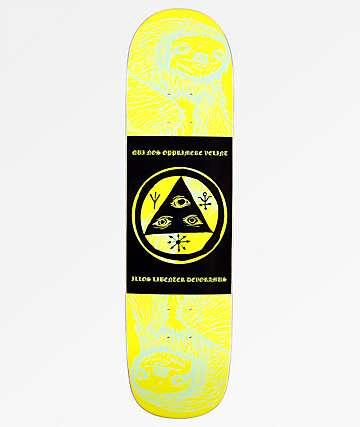 "Welcome Mantra Sloth On Bunyip 8.0"" Lime Skateboard Deck"