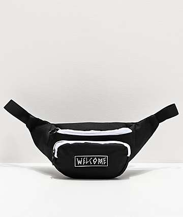 Welcome Scrawl Black & White Fanny Pack