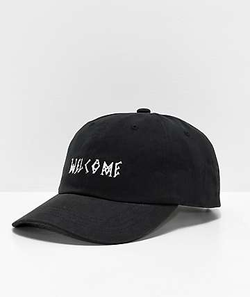 Welcome Scrawl Peached Black Strapback Hat