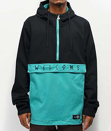 Welcome Scrawl chaqueta anorak negra y verde azulado