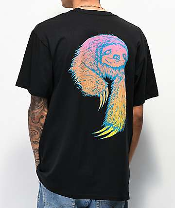 Welcome Sloth Black & Surf Fade T-Shirt