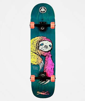 "Welcome Sloth On Bunyip 8.0"" Surf Blue Skateboard Complete"